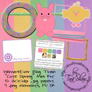 "Wilma4Ever Blog Train {April 2013} ""Cute Spring"" Mini Kit Freebie"