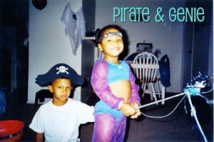 2000 - Oldest is 5 & is a pirate & the youngest was 3 and was a genie!