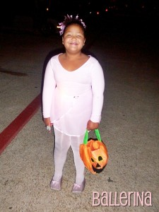 2004 - She's 7 and a ballerina.  We went trunk or treating at her school, J.O.Davis Elementary School, in Irving!