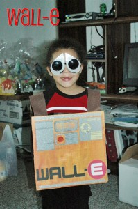2009 - He is 4 and is Wall-E. I totally made this from a box with paints and cut outs from my Cricut Expressions die cut machine!
