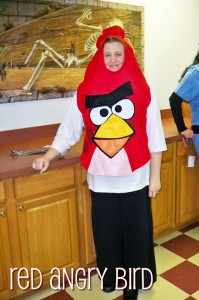 And I borrowed the red Angry Bird costume to dress up for work earlier in the day!  I made this all by hand with felt from the craft store!
